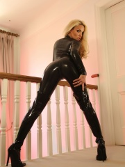 Dannii Harwood Galleries – Dannii Poses In A Black Cat Suit